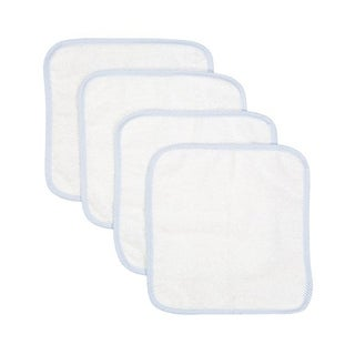 4 Pack Solid Baby Washcloths with Piping