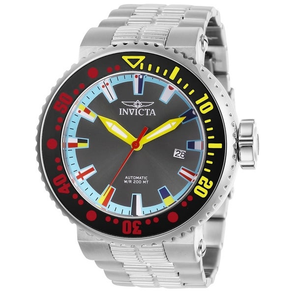 aa35c672b Shop Invicta Men's Pro Diver 27663 Stainless Steel, Black, Red, Yellow Watch  - Free Shipping Today - Overstock - 26432713