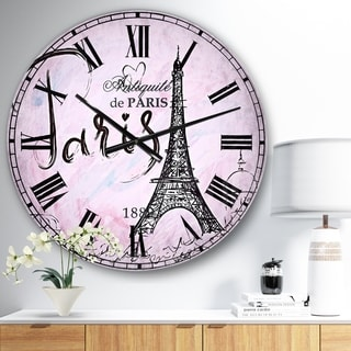 Designart 'Illustration with Paris Eiffel Tower' Vintage Oversized Wall CLock