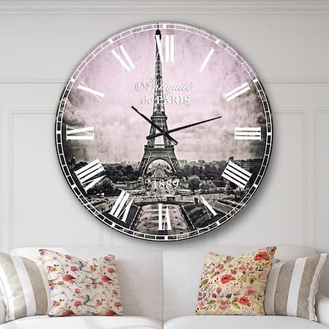 Designart 'Vintage View of Paris France' Vintage Wall CLock