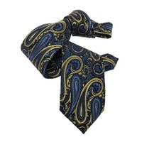 DMITRY 7-Fold Gold/Blue Paisley Italian Silk Tie