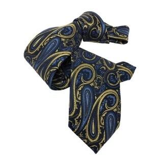 DMITRY 7-Fold Gold/Blue Paisley Italian Silk Tie