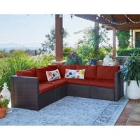Havenside Home Stillwater Indoor/Outdoor Brown Resin Rattan 5-piece Sectional with Terracotta Cushions