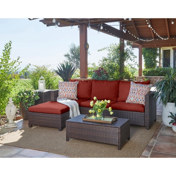 Havenside Home Stillwater Indoor/Outdoor Brown Resin Rattan Sectional with Table and Terracotta Cushions
