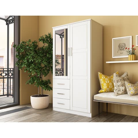 Metro 2 Door Wardrobe Armoire With Mirror 3 Drawers Palace Imports