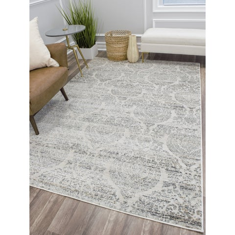CosmoLiving Vintage Transitional Ivory Grey Gold Dainty Area Rug