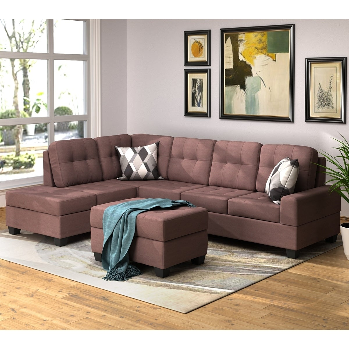 Copper Grove Sevan 3 Piece Microfiber Sofa Sectional Set With Reversible Chaise Lounge Storage Ottoman