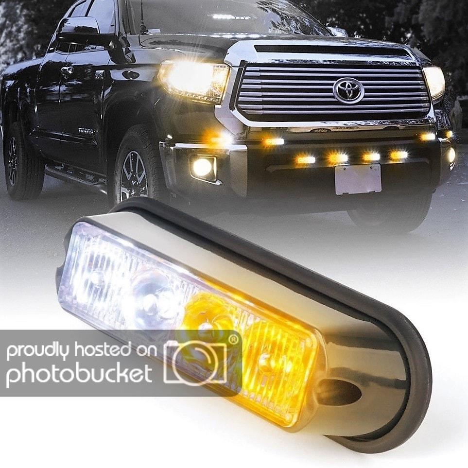 4 LED Emergency Vehicle White Amber Side Marker Grill Flash Strobe Warning Light