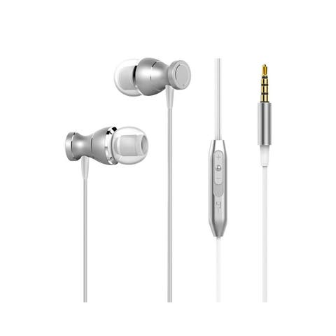 Insten 3.5mmEarphone Stereo In-ear Handsfree Earbuds Headset with Mic for Smartphones Apple iPhone Samsung, White/Silver Metal