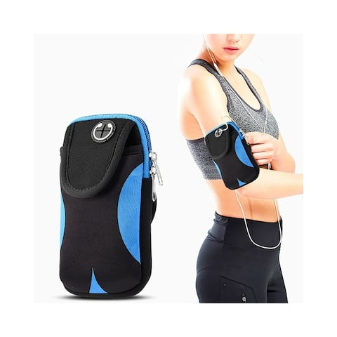 Insten Adjustable Sports Armband Pouch Pocket for Gym iPhone Running Jogging Hiking Climbing Cycling Workout Camping, Black/Blue