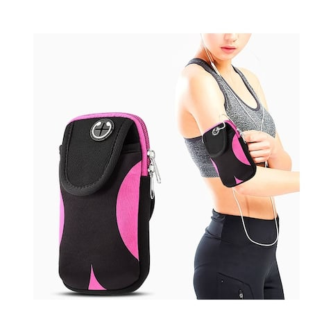 Insten Adjustable Sports Armband Pouch Pocket for Gym iPhone Running Jogging Hiking Climbing Cycling Workout Camping, Black/Pink