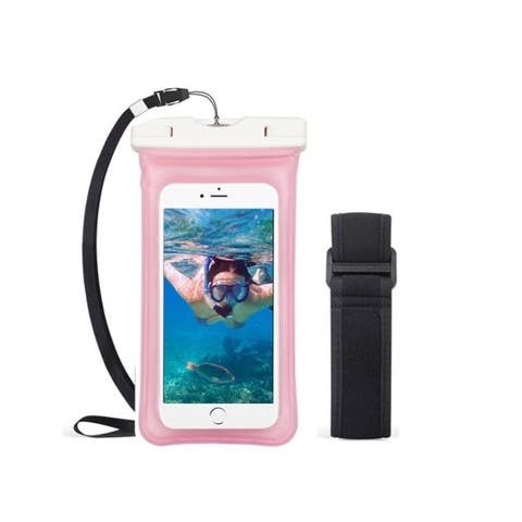 Insten Universal Underwater Waterproof Pouch Pack Bag Dry Case with Lanyard and Armband, Pink