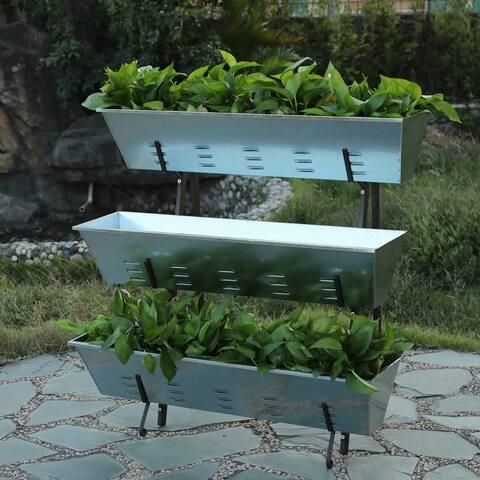 Metal Single Side 3-Tier Raised Garden Planter