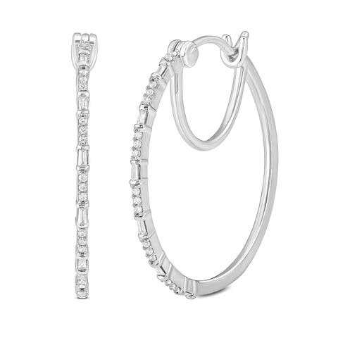Cali Trove 1/4ct TDW Hoop Earring In 10kt White Gold