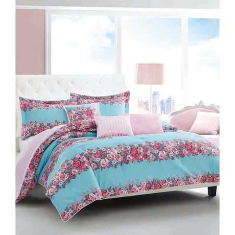 Betsey Johnson Banded Floral Bonus Comforter Set