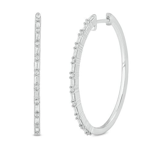 Cali Trove 1/4ct TDW Hoop Earring In 14kt White Gold