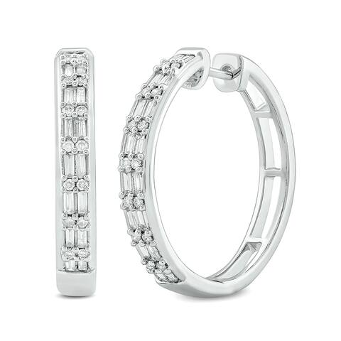 Cali Trove 1/2ct TDW Hoop Earring In 10kt White Gold