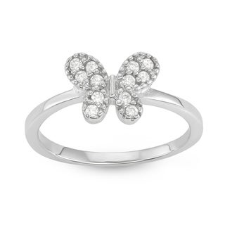 Isla Simone Sterling Silver Simply Butterfly Cubic Zirconia Ring