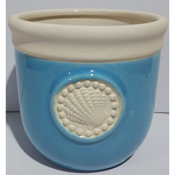 Citronella Candle in Decorative Ceramic Holder w/ Sea Fan and Star Fish Design
