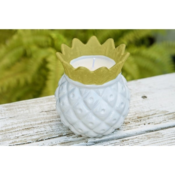 Citronella Candle in Decorative Ceramic Pineapple Holder
