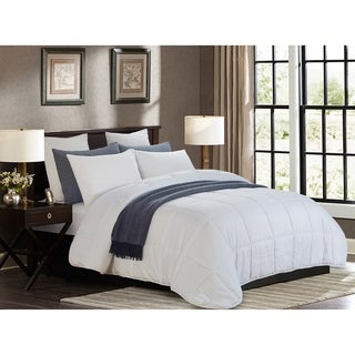 All Season White Quilted Goose Down Alternative Comforter - Oversized Full/Queen