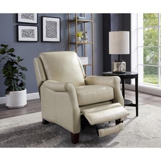 Milo Cream Premium Top Grain Leather Recliner Chair