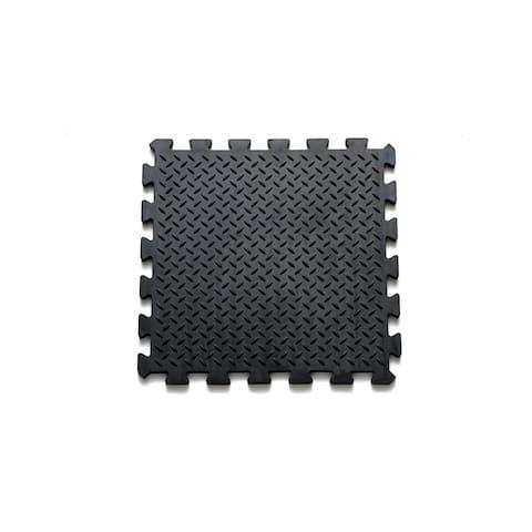 Mats Inc. Rubber Black Diamond Floor Tiles, 4 Tiles/10.75 sq. ft.