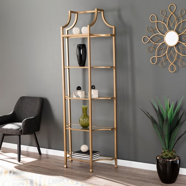 Silver Orchid Price Gold Metal Etagere Bookcase