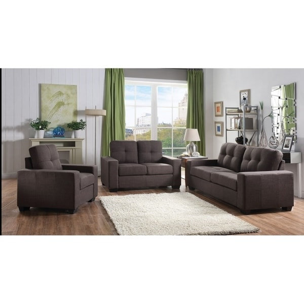 Shop Skopje 3 Pieces Modern Sofa set Upholstered in Fabric - Free ...