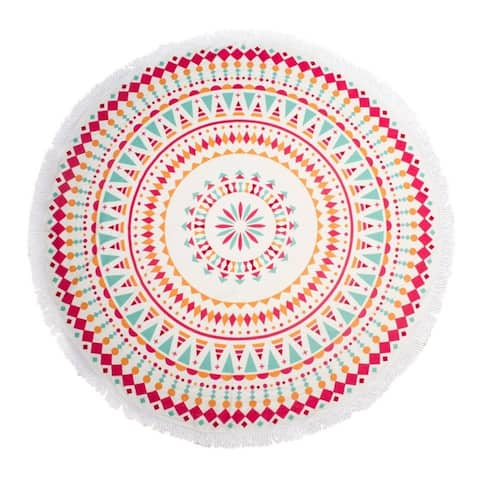 "Round Thick Terry 60"" Beach Towel 1Lb Yoga Towel Mat Blanket W/ Tassels Pink"