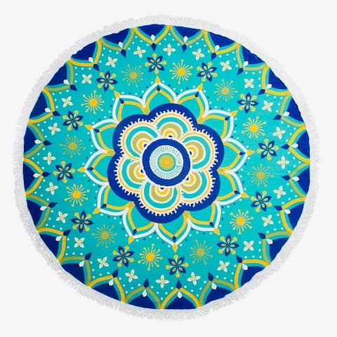 "Round Thick Terry 60"" Beach Towel 1Lb Yoga Towel Mat Blanket W/ Tassels Mandala"