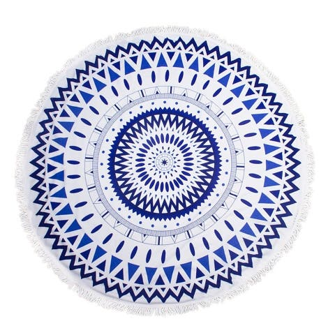 "Round Thick Terry 60"" Beach Towel 1Lb Yoga Towel Mat Blanket W/ Tassels Geometric"