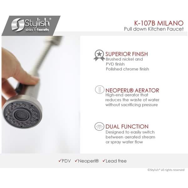Pull Down Sprayer Single Handle Modern Kitchen Sink Faucet K107b 18 25 X 5 5 Overstock 26435731