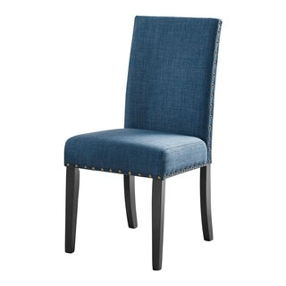 Crispin Black Marine Blue Dining Chairs with Nailheads (Set of 2)