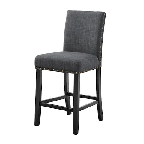Crispin Black and Granite Counter Chairs with Nailheads (Set of 2)