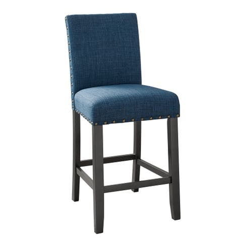 Crispin Black and Marine Blue Counter Chairs with Nailheads (Set of 2)
