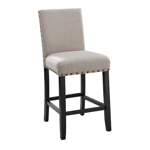 Crispin Black and Natural Counter Chairs with Nailheads (Set of 2)