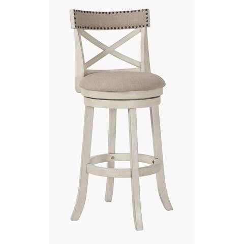York Antique White 29-inch Bar Stool with Fabric Seat