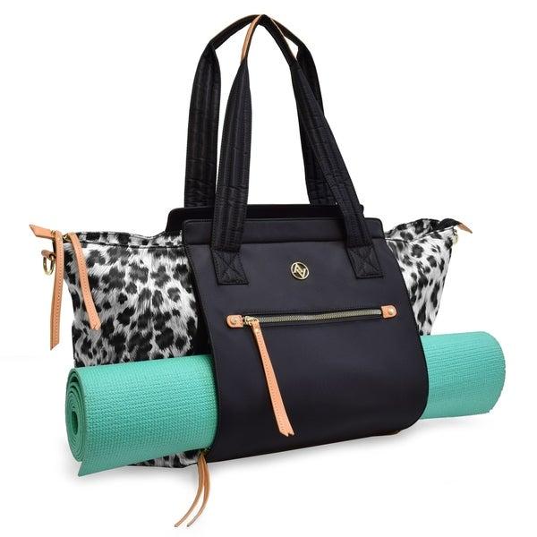 871365a459 Shop Adrienne Vittadini Leopard Printed Convertable Yoga Tote-Black ...