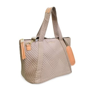 Adrienne Vittadini Crisscross Quilted Duffel-Taupe