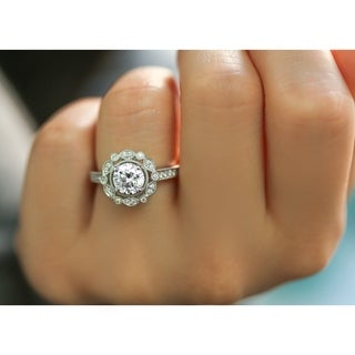 Annello by Kobelli 14k Gold 1-1/5ct TDW Vintage Milgrain Floral Diamond Halo Flower Engagement Ring