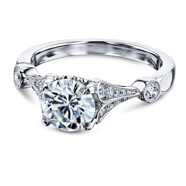 Annello by Kobelli 14k White Gold 1 1/4ct TGW Vintage Bell Heart Shank Forever One Moissanite and Diamond Engagement Ring. Opens flyout.