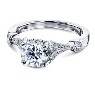 Annello by Kobelli 14k White Gold 1 1/4ct TDW Vintage Bell Heart Shank Bar Accent Diamond Engagement Ring