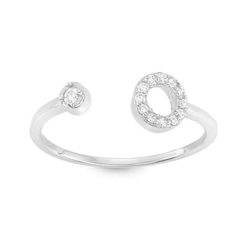 Isla Simone - Sterling Silver Open Circle with Circle Cubic Zirconia Ring