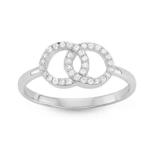 Isla Simone - Sterling Silver Interlocking Circle Cubic Zirconia Ring