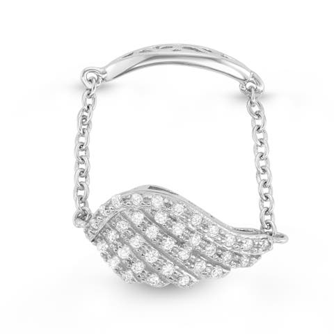 Isla Simone - Sterling Silver Angel Wing Chain Cubic Zirconia Ring