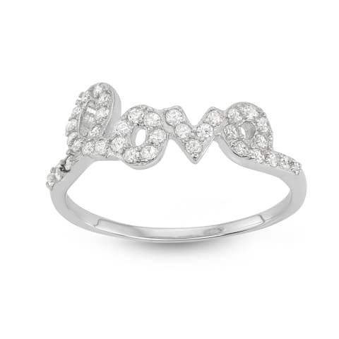 Isla Simone - Sterling Silver Love Saying Cubic Zirconia Ring