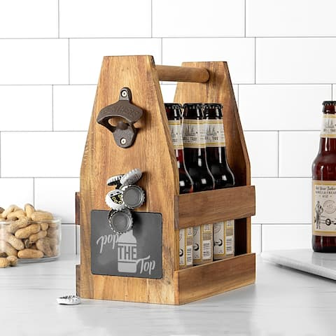 Pop the Top Acacia Slate Beer Carrier with Magnet and Bottle Opener