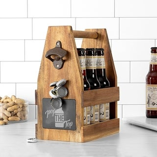 Link to Pop the Top Acacia Slate Beer Carrier with Magnet and Bottle Opener Similar Items in Glasses & Barware