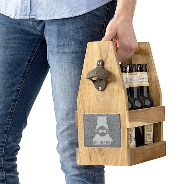 Groomsman Acacia Slate Beer Carrier with Magnet and Bottle Opener. Opens flyout.